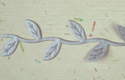 Satin Leaf Trim, Silver Grey