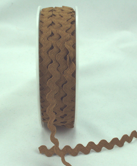 6mm Ric Rac Light Brown 20m Roll