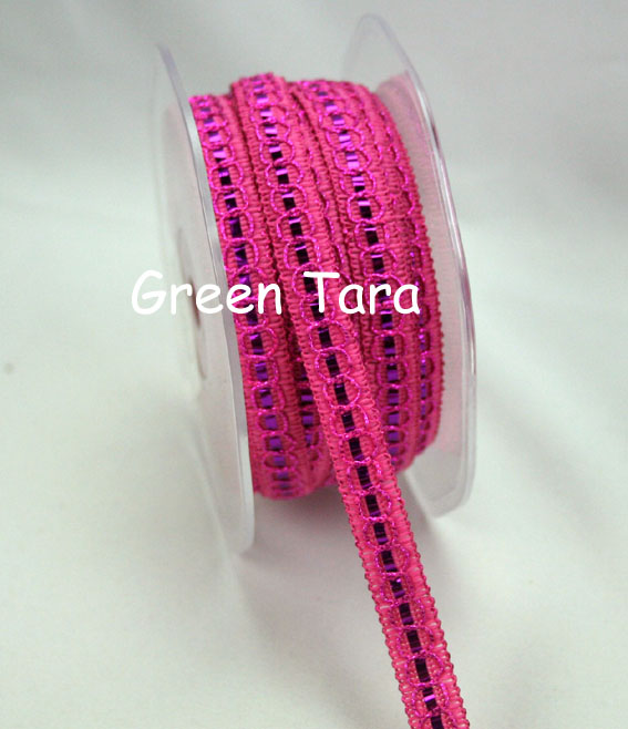 9mm Shimmer Threaded ribbon, Fuschia 20m