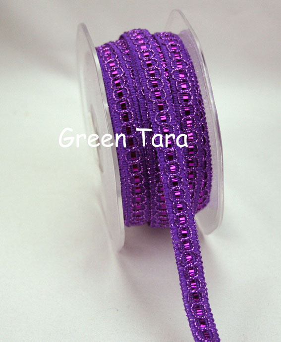 9mm Shimmer Threaded ribbon, Purple 20m