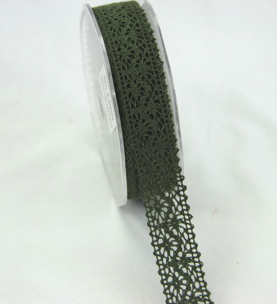 10m Lace Ribbon, 22mm Olive