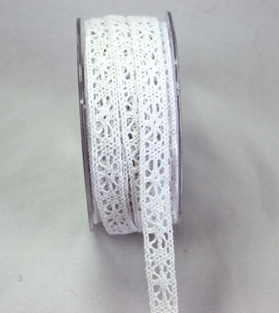 20m Lace Ribbon, 12mm White
