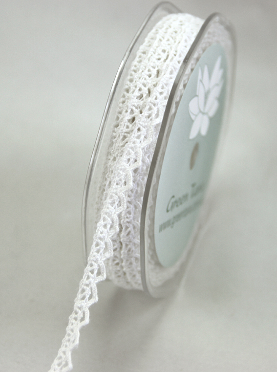 9mm Lace Ribbon 20m White