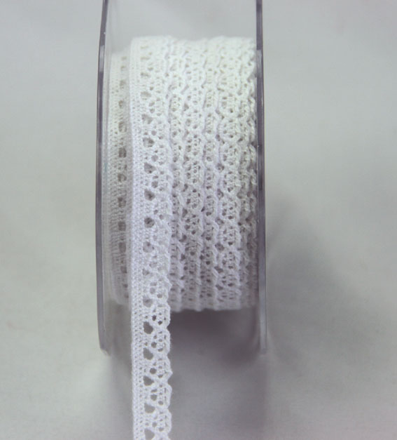 20m Lace Ribbon, 9mm White