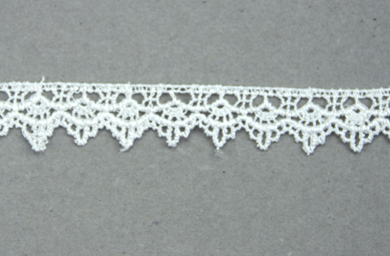10m Lace Ribbon, 18mm Scalloped White