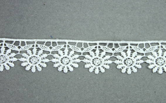 10m Lace Ribbon, 30mm Flower White