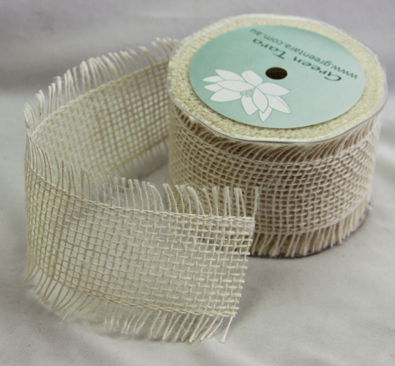 *NEW* 65mm Burlap Ribbon 10 yds, Ivory