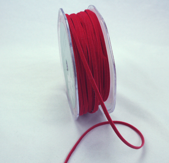 3mm Suede Cord 50m Red