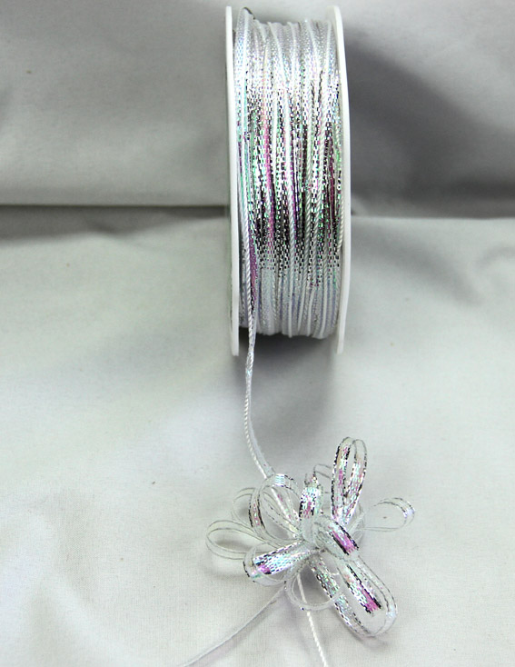 4mm Pull Bow Ribbon 25m, Silver