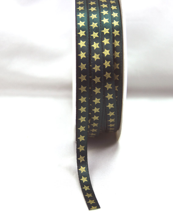 6mm Satin Ribbon with Gold Stars 25m, Green