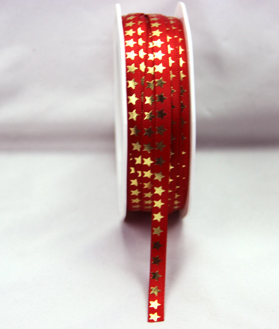 6mm Satin Ribbon with Gold Stars 25m, Red