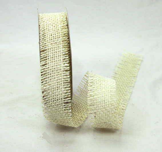 38mm Burlap Ribbon 10 yds, Ivory