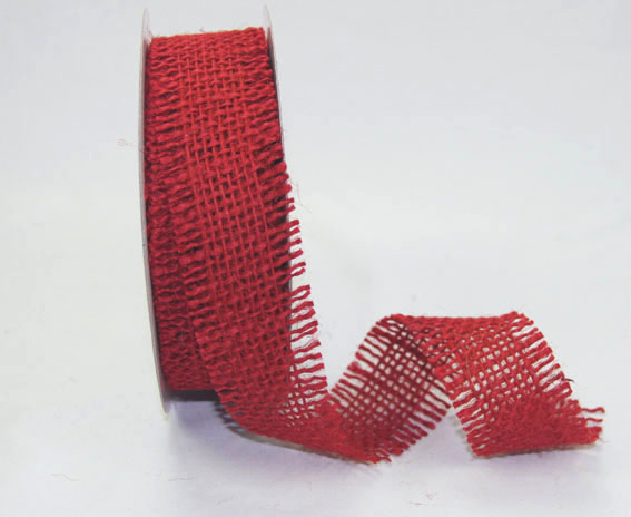 38mm Burlap Ribbon 10 yds, Red