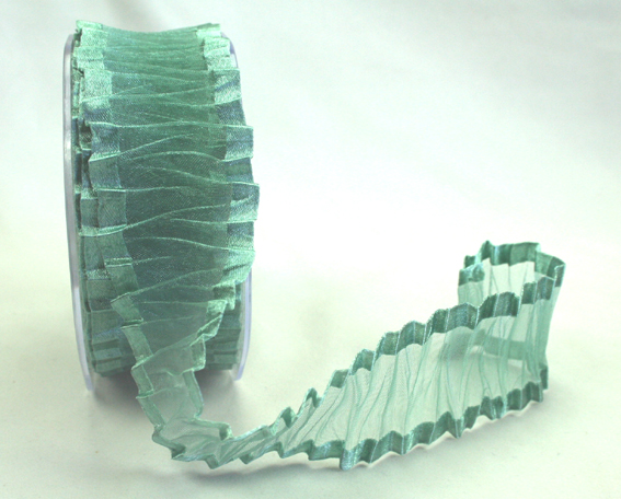 38mm Crinkle Satin Edged Organza Aqua 10m roll