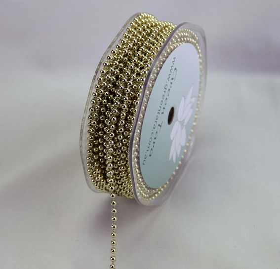 3mm Pearl Trim 20m Roll Gold