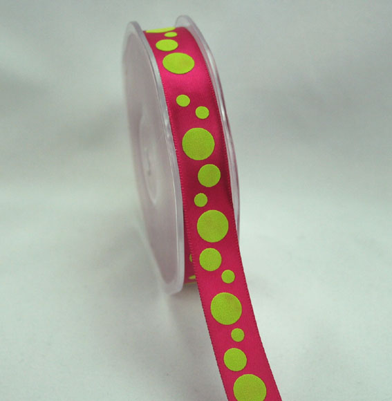 15mm Satin Spot Hot Pink/Lime Green 20m Roll