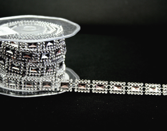 12mm Square Silver Diamante Trim 10m