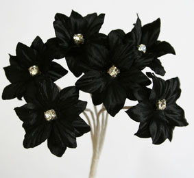 Silk Flowers with Swarovski Crystal Centres. 3cm Black. Bulk pack of 60.