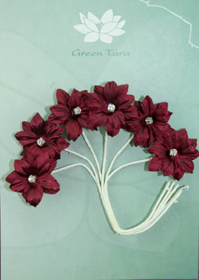 Silk Flowers with Swarovski Crystal Centres. 3cm Burgundy. Pack of 6.