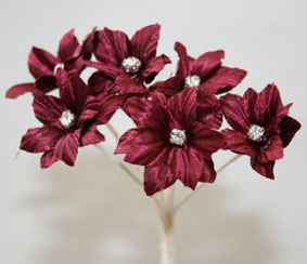 Silk Flowers with Swarovski Crystal Centres. 3cm Burgundy. Bulk pack of 60.