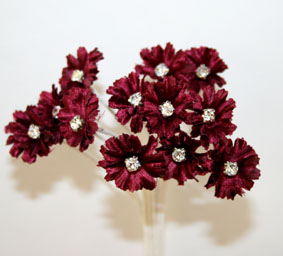 Silk Flowers with Swarovski Crystal Centres. 2cm Burgundy. Bulk pack of 60.