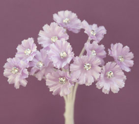 Silk Flowers with Swarovski Crystal Centres. 2cm Lilac. Bulk pack of 60.