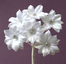 Silk Flowers with Swarovski Crystal Centres. 3cm White. Bulk pack of 60.
