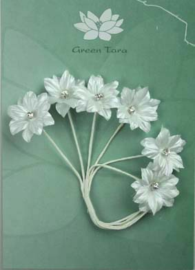 Silk Flowers with Swarovski Crystal Centres. 3cm White. Pack of 6.