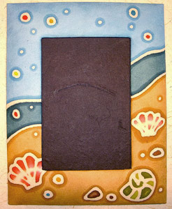 "Batik Mulberry Paper Photo Frame for 6"" x 4"" Photos. Seashell Design."