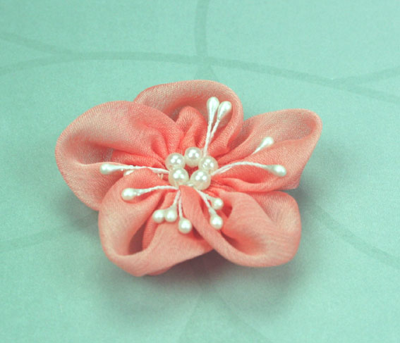 Sakura 5cm Silk and Pearl Flowers Coral 12 pcs