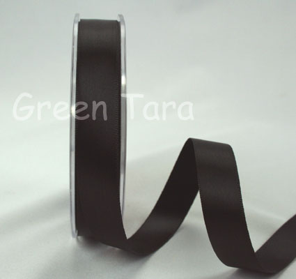 15mm Double Sided Satin 25m Ribbon Black