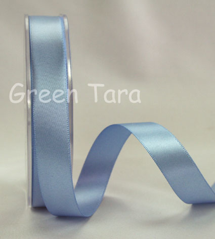 9mm Double Sided Satin Ribbon Grey Blue