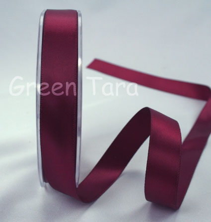 15mm Double Sided Satin Ribbon 25m Burgundy