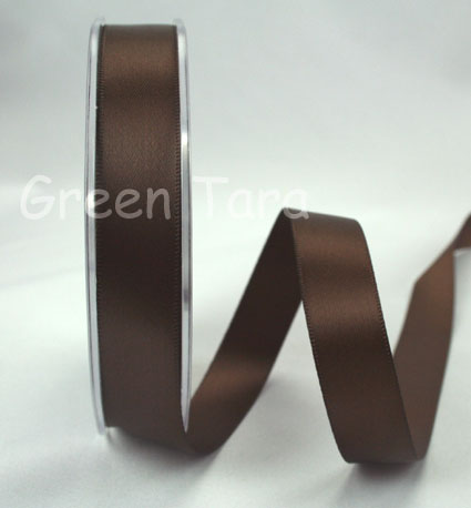 15mm Double Sided Satin Ribbon 25m Dark Brown