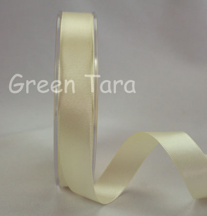 15mm Double Sided Satin Ribbon 25m Ivory