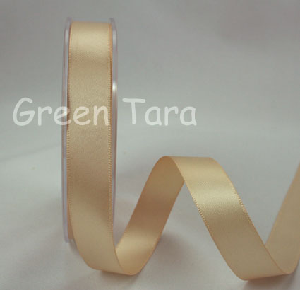 15mm Double Sided Satin Ribbon 25m Latte