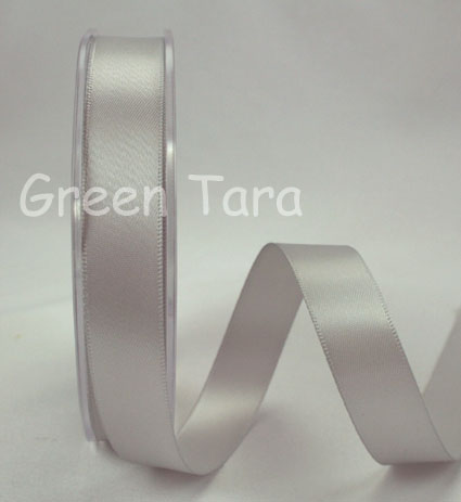 15mm Double Sided Satin Ribbon 25m Silver Grey