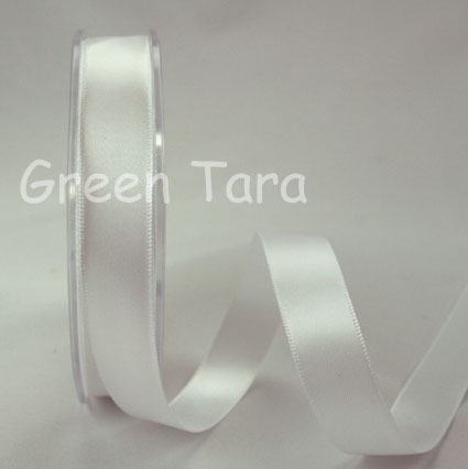 15mm Double Sided Satin Ribbon 25m White