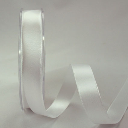 25mm Double Sided Satin 25m White