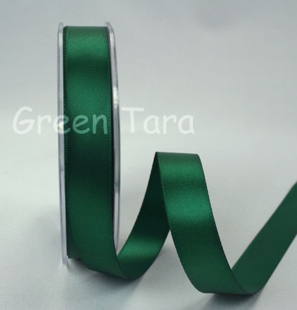 15mm Double Sided Satin Ribbon 25m Xmas Green