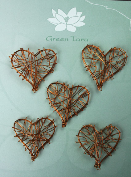 Wire Heart 3cm Copper Pack of 5