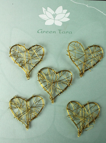 Wire Heart 3cm Gold Pack of 10