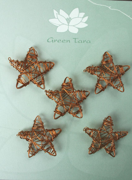 Wire Star 3cm Copper Pack of 5