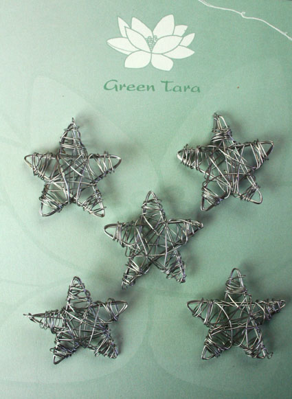 Wire Star 3cm Silver Pack of 5