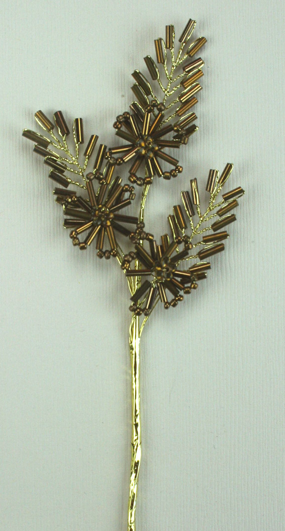 15cm Flower/Leaf Spray, Copper/Gold