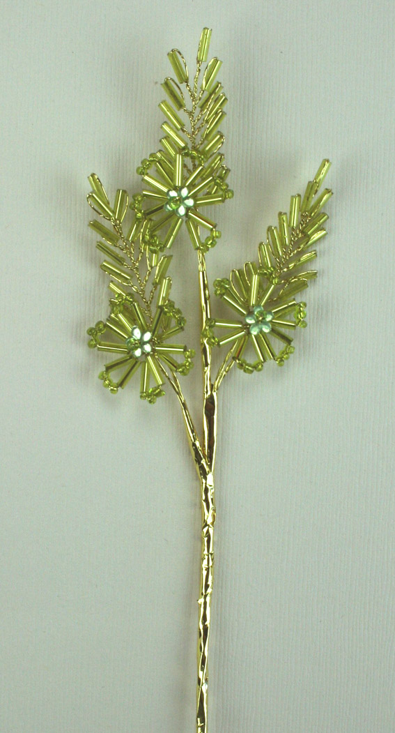 15cm Flower/Leaf Spray,Green/Gold