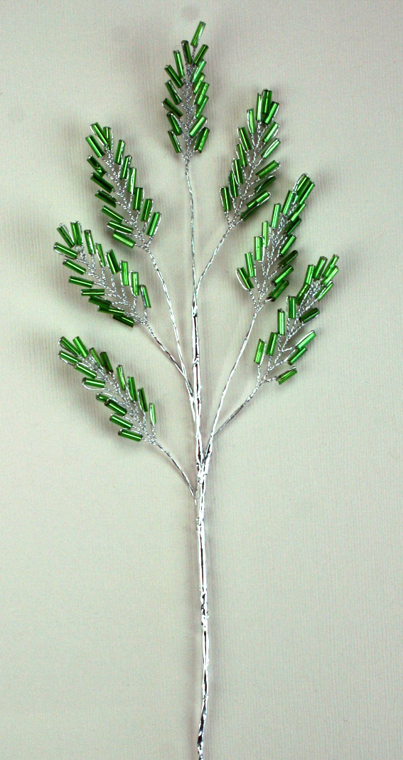 22cm Silver Stem, 7 Leaves, Green