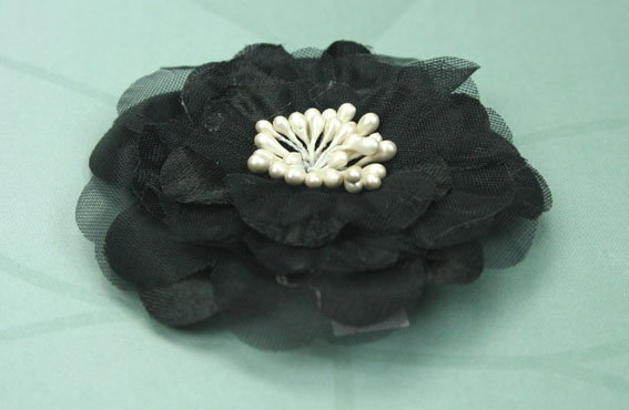 Heirloom 6.5cm Silk and Organza Flowers Black 12 pcs