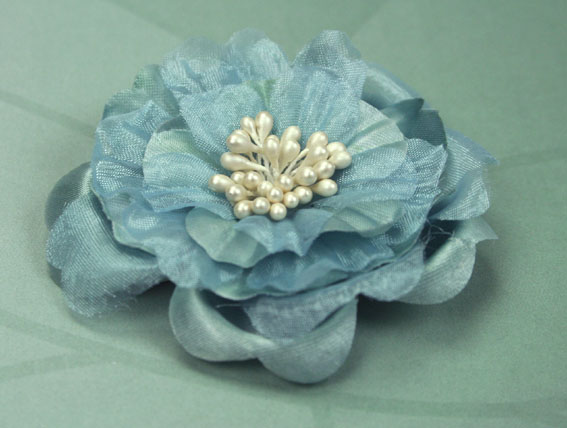 Heirloom 6.5cm Silk and Organza Flowers Grey Blue 12 pcs