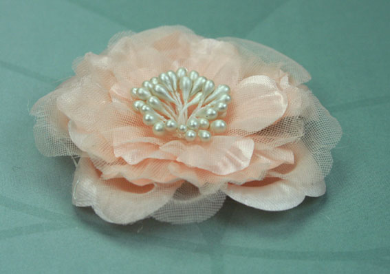 Heirloom 6.5cm Silk and Organza Flowers Peach 12 pcs